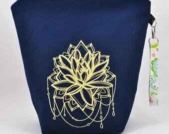 Lotus | embroidered project bag | knitting bag | crochet bag | zipper bag