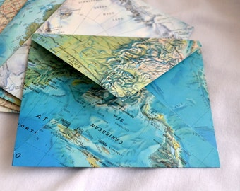 Vintage maps upcycled envelopes 6 with white cards