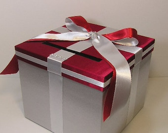 Wedding  Card Box Silver and Red Gift Card Box  Money Box Holder-Customize your color