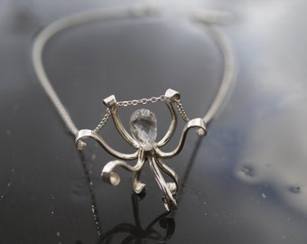 Octopus  - Sterling Silver and  Quartz Crystal Necklace.