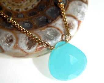 Aqua Chalcedony Layering Necklace, Delicate Gold Necklace, Minimal Necklace, Dainty Necklace, Layering Jewelry