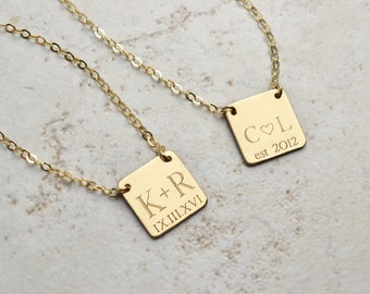 Wedding date necklace, initial necklace, Personalized Necklace, Gold Necklace, bridesmaid gifts, mom gift, new mom, new baby