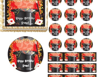 Magic Show Magician Hat Edible Cake Topper Image, Magician Party, Magician Cake, Magician Cupcakes, Magic Show Cake, Magic Show Party