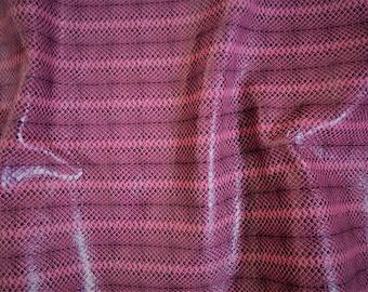 "Leather 10"" X 12""   Dark Pink Embossed Snakeskin with Subtle Shimmer"