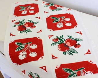 Kitchen Towel - Retro Granny's Fruit Print - Select Length and Blue, Red or Yellow