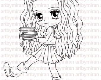 Digital Stamp - Smart Samantha(#126), Digi Stamp, Coloring page, Printable Line art for Card and Craft Supply