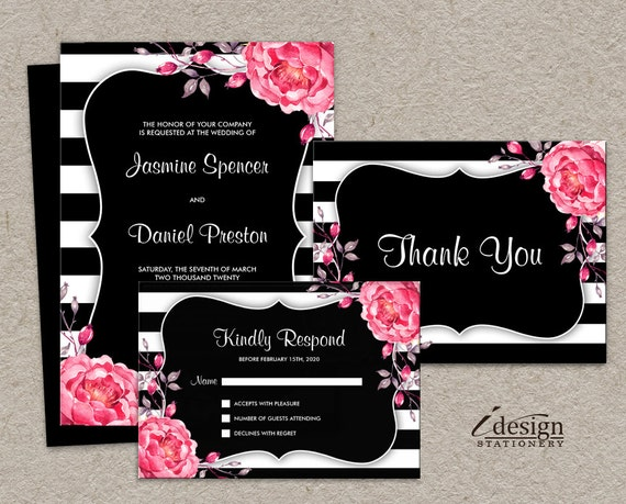 Printable Wedding Invitation Sets: Items Similar To Elegant Wedding Invitation Sets