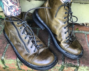 Vintage Olive Green Leather Mens HEICH Italy Shoes Boots size 11 44