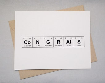 "Congratulations Science Greeting Card Periodic Table of the Elements ""CoNGRAtS"" / Sentimental Elements Chemistry Card for Grads / New Job"