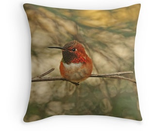 Bird Throw Pillow, Hummingbird Pillow, Hummingbird Cushion, Bird Decor, Nature Cushion, Wildlife Cushion, Gift for Birdwatcher,Rufous Hummer