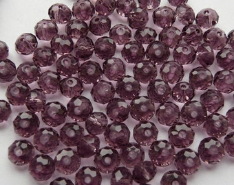 20 Purple Crystal Faceted Beads 6mm