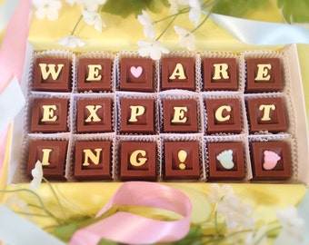We Are Expecting A Baby Chocolate Message, We're Pregnant Announcement