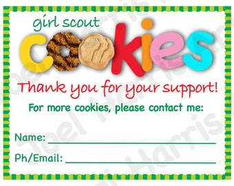 2018 Cookie Thank You Cards! Girl Scout Printable Note Card plus BONUS Cards - Instant Download - Printables Cookie Booth Decor Supplies