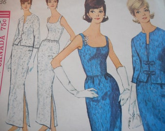 Vintage 1960's Simplicity 5658 Dress and Jacket Sewing Pattern Size 16 Bust 36