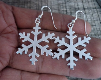 Snowflake Earrings - Winter Earrings - Silver Earrings - Christmas Earrings - Christmas Gift -  925 Sterling Silver Dangle Earrings Fashion