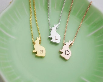 Personalized Bunny Rabbit Necklace, initial Necklace, Dainty letter necklace, monogram jewelry, Bridesmaids gift Weddings Christmas gift