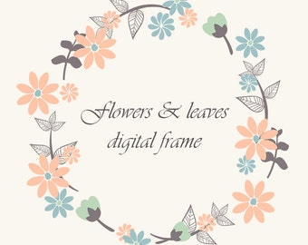 Instant Download Flowers and Leaves Frame Border Clip Art Wedding