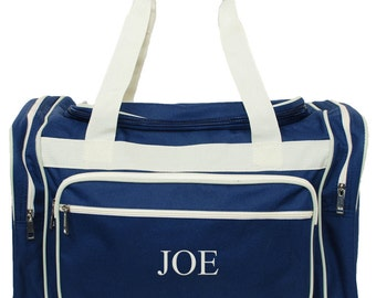 """Personalized Navy Blue Duffle Bag 