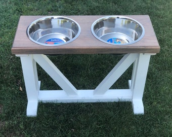 FREE PERSONALIZATION Dog Bowl Feeder Raised // Elevated Dog Stand // Farmhouse Style // Rustic // Wood //  Extra Large