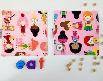 Girl Power Napkins (Cloth Napkin, Small Napkins, Super Girls Napkin, Kids Lunchbox, Girls Rock, Two Napkin Set, The Future Is Female)