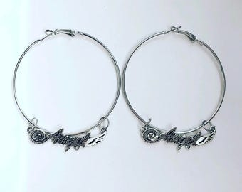 The giant angel hoop earrings