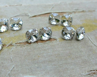 SET OF 9 Priscilla Cushion Cut Swarovski Stud Earrings-Sterling Silver and Crystal-Diamond Studs-Bridesmaid Jewelry Bridesmaid Earrings