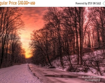 SALE 20% Off Winter Sunrise on the Delaware Canal and Towpath, Landscape Photograph, Snow, Trees, Bucks County, Pennsylvania, Yardley, Pink
