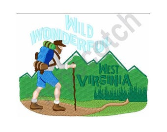 West Virginia - Machine Embroidery Design, Hiking