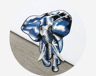 Embroidery Elephant Appliques, Sew On Patches