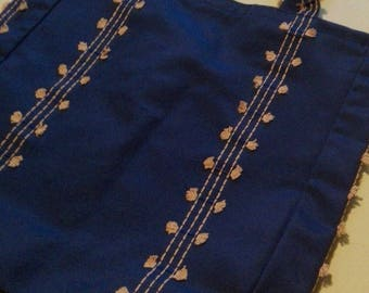 doctor bag shape bag or tote bag in dark blue upholstery fabric