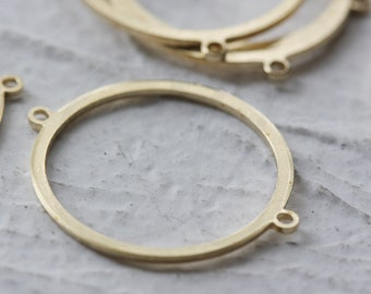 10 Pieces Raw Brass Ring With 2 Holes - Link 23.8*20mm (3918C-D-493)