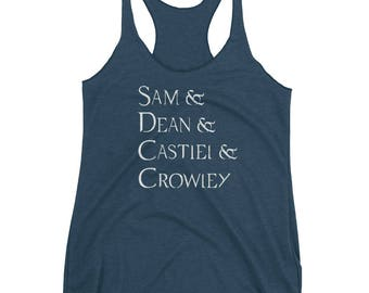 Sam and Dean and Castiel and Crowley Supernatural Winchester Angel King of Hell Inspired Name List Women's Racerback Tank