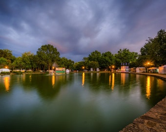 Stormy sky over the lake at Freedom Park, in Charlotte, North Carolina. Photo Print, Metal, Canvas, Framed.