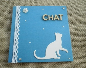 "Double square card, turquoise blue color, decors ""cat"" + matching envelope"