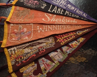 Felt/Felt Pennants flags / Souvenir Camps 1950-1960/CANADA/Quebec/Chicoutimi /riviereduloup/Sherbrooke/Niagara