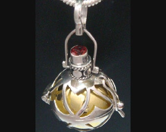 Gorgeous 'Dream' Harmony Ball with a Stunning Red Quartz Gemstone on 925 Sterling Silver Cage with Brass Chime Ball, Angel Caller, Bola 315