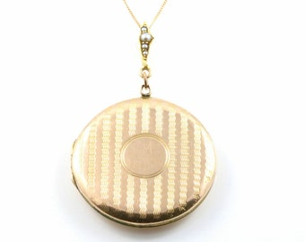 Art Deco 9ct Rose Gold Locket with Pearl Bale - c.1920