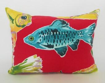 Outdoor Lumbar Pillow Cover ANY SIZE Decorative Pillow Cover Fish Pillow Red Pillow Richloom Outdoor Kiley Sunset