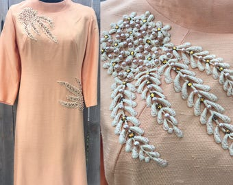 VTG Vintage Peaches and Dream 1960s Silk Highfitted A-Line Dress