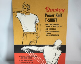 Underwear Advertising Mens Jockey Power Knit T Shirt Store Display Cardboard Lithograph Stand Up Display 1960's-1970's