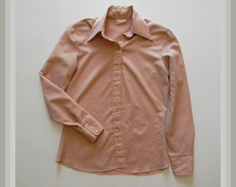Ladies Vintage Western Shirt - Long Sleeve Pearl Button Down Collared Shirt