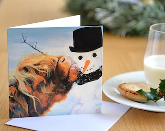 Highland Cow Christmas Card - Snowman - UK artist - Scottish Cow - Frosty and Friend - Season's Greetings - Cow Painting - Snowman Card