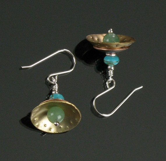 Unique Metal Dangle Earrings, Handmade Drop Earrings, Mixed Metal Jewelry Gift, Metal Earrings, Unique Brass Earrings, Modern Earrings Gift