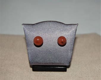 Red glass with 925 sterling silver post earrings