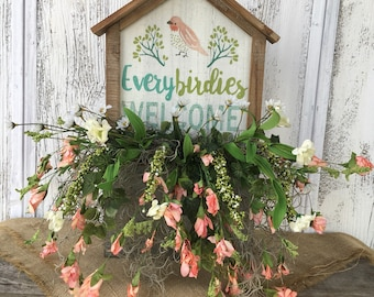 Every birdies Welcome Wood and Tin with Floral Spring Arrangement, Summer Wall or Table Arrangement, Spring Bird Arrangement, FAAP