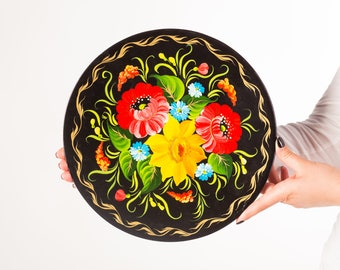 Wall decor plate Gift idea Gift for mother Hand painted plate Decor plate Home decor Housewarming gif Flower ornament Present Wooden plates