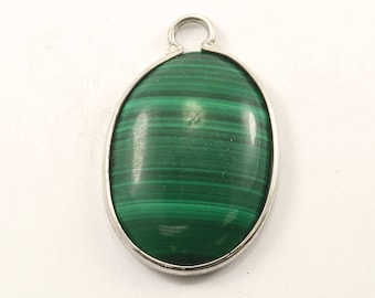 Vintage Oval Malachite Pendant 925 Sterling Silver PD 2343