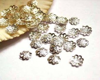 100 Silver Plated Flower Bead Caps - 18-SC-1