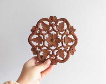 3 (Three) Vintage 5.5 Inch India Wood Carved Trivets, Filigree Hot Pads