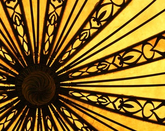 Photograph Eye Catching Deep Yellow and Black Brown Radial Abstraction of Light Chandelier Horizontal Fine Art Print Home Decor